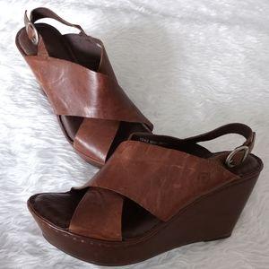 Born Emmy Pebble Leather Criss Cross Sandals